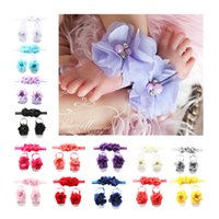Wholesale artificial flowers chiffon pearl for sale - Group buy Newborn Baby Headbands Suits Infant Baby Diamond Artificial Flower Hair Band Solid Baby Wrist Flower Chiffon Pearl Flower Set