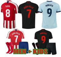 envío de dhl jerseys tailandeses al por mayor-19 20 JOÃO FÉLIX Atlético de Madrid camisetas de fútbol 2019 2020 LLORENTE camiseta de futbol kits de hombres de la camisa de fútbol niños JOAO FELIX