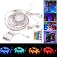 smd pil toptan satış-Pil Kumandalı USB LED Şerit Işıklar RGB SMD 5050 30 LED / M IP65 Mini Kontrol Cihazı ile Su Geçirmez Esnek Renk Değiştirme Işık