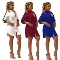 polo de líneas al por mayor-Vestidos de camisa casual para la moda de verano para mujer Ropa de polo A-Line Fresh Sweet Apparel