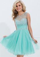 vestido de coral línea de encanto al por mayor-2019 New Charming A-line Short Blue Homecoming Dresses Por encargo vestido de graduación Vestidos de fiesta de fiesta Vestidos de noche cristales completos Vestidos