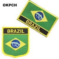 âncora de ferro vermelho venda por atacado-Frete Grátis Brazil Flag Bordado Ferro no Remendo 2 pcs por Conjunto PT0023-2