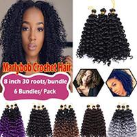tejido de rizo sintético al por mayor-Marlybob Crochet Trenzas para el cabello Afro Jerry Curl Paquetes de cabello sintético Extensiones Onda de agua Torsión del cabello para mujeres afroamericanas