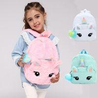 Wholesale plush fabric backpack resale online - New Fashion Unicorn soft Plush Backpacks kawaii cartoon Girls School Bags nursery school baby Shoulder Bag
