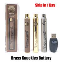 Wholesale gold knuckles resale online - Brass Knuckles Battery mAh mAh Gold Wood Slivery Preheat Adjustable Voltage Vape Pen BK Battery Thread Cartridge