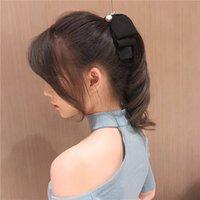saç lastiği bant halka çiçek toptan satış-Kadınlar Moda şifon Bow Elastik Saç Yüzük Çiçek Saç Kauçuk bantlar Halat inciler Kadınlar Kız Bantlar Aksesuarları