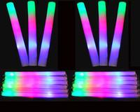 мигающий свет вверх пена палочки оптовых-Зажгите Пена Sticks Светящиеся палочки Baton мигающий светодиодный Стобе Стик для партии Concert Event День рождения Свадьба Дайте Визитки одолжений