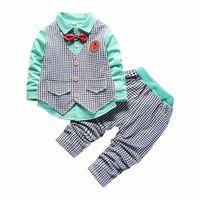 erkekler için rahat yelek toptan satış-2019 Yeni Çocuk Giyim İlkbahar Sonbahar Erkek Pamuk Yelek Uzun kollu Gömlek Pantolon Beyler Papyon Casual Suit 3 adet