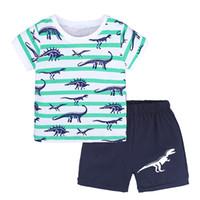Wholesale dinosaur baby clothing print for sale - Group buy Summer Fashion Children Clothing Sets Piece Baby Boy Suits Cotton Dinosaur Print Short Sleeve stripe T Shirts Denim Shorts