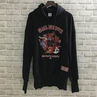 bölümler sweatshirt hoodies toptan satış-Yeni Vetements Hoodies Erkek Kadın Uzun bölüm Gri Karikatür Canavar Nakış Rahat Sonbahar Kış Vetements Tişörtü Kazak