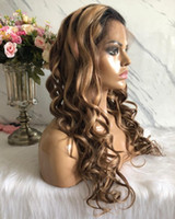 Wholesale fast shipping virgin hair for sale - Group buy Ombre Highlight Two Tone Lace Front Wigs A Brazilian Virgin Human Hair Loose Wave Full Lace Wig for Beauty Fast
