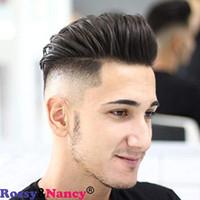 melhores perucas de cabelo humano europeu venda por atacado-RossyNancy Melhor Europeu Remy Homem Humano Peruca de Cabelo Humano Curto Substituição Preto Peças de Cabelo Perucas para Homens