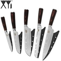 XYj 5 Piece Kitchen Knives Laser Damascus Pattern Blade High Grade Stainless Steel Cooking Knife Set