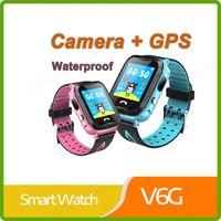 linternas para niños al por mayor-Nueva llegada GPS resistente al agua SmartWatch V6G con cámara Linterna SOS Ubicación de la llamada Pantalla táctil Monitor de seguimiento anti-perdida PK Q90