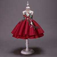 kız için işlemeli tül elbisesi toptan satış-Kızlar 3-10 yıl yaz Işlemeli elbiseler, çocuk tatil parti tutu elbise, bebek çocuk genç butik tül giyim, R1AA806DS-38