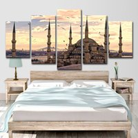 Wholesale skyline oil resale online - Canvas Paintings Wall Art Pictures Living Room Decor Pieces HD Prints Suleymaniye Mosque Skyline Landscape Poster