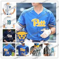 blaue baseballstiche großhandel-NCAA Pittsburgh Panthers PITT Custom Nummer beliebig Name Stitched 2019 Weiß Royal Blue Grau Navy # 34 TJ Zeuch Baseball-Trikots S-4XL