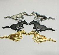 adesivos para carro cor prateada venda por atacado-2 pcs Car Metal Cavalo logotipo emblema emblema tamanho da etiqueta 75x28 (+/- 1mm) cor prata / preto / ouro apto para carros DOS EUA F ** série M ** e outros modelos