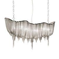 Wholesale 15 inch silver chain for sale - Group buy Modern Boat Tassel Shade Chandelier Aluminum Chain Suspension LED Lamp For Living Room restaurant Home Lighting C021