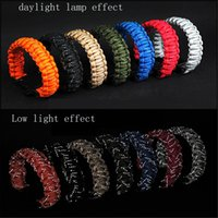 Wholesale survival wristband paracord resale online - DHL or UPS Reflective Core Paracord Whistle Survival Bracelets Rope Outdoor Gear Hiking Camping Wristband Rescue Bind Tent x cm