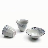 Wholesale hibiscus teas resale online - 2PCS Japanese style Ceramic Porcelain Teacup Hand Painted Hibiscus Flower Teaware Office Tea Ceremony Master Puer Small Bowl