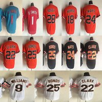 Wholesale red barry online - 1 O SMITH Willie Mays Barry Bonds Will Clark Williams Retro Baseball Jerseys