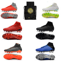 Wholesale hypervenom tf resale online - New High Ankle Football Boots TF Hypervenom Phantom III DF ACC Soccer Shoes EA Sports elite Indoor IC Turf Soccer Cleats Socks