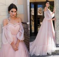 Wholesale princess pipes resale online - Plus Size Pale Pink Vintage Princess Prom Dresses Off Shoulder Puffy Long Sleeves Formal Evening Pageant Gowns ogstuff vestidos de fiesta