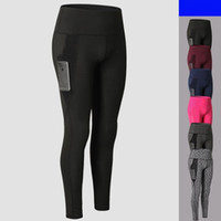 Wholesale quick dry yoga pants online - Women Gym Leggings Fitness Yoga Tight Pants Fitness Breathable Sports Quick Dry Comfy Trousers With Pocket LJJS117