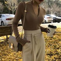 ingrosso ponticelli sexy della molla-Maglioncino a manica lunga con scollo a V profondo sexy a maglia donna primavera pull femme