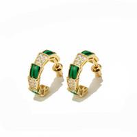 altın sap yılan küpe toptan satış-Bakır saplama küpe parlaklık altın yılan festivali yeşil malakit elmas küpe kadın takı