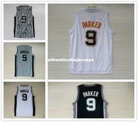 tony parker jersey kaufen großhandel-Männer Basketball Jersey Tony Parker # 9 Trikots Stickerei Top-Qualität weiß grau schwarz Camouflage Sport Shirt Großhandel Ncaa College