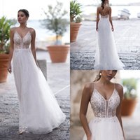 Wholesale deep sweetheart neckline wedding dresses for sale - Group buy NAVIBLUE Illusion Bodice Wedding Dresses Sexy Deep Sheer Neckline Beach Wedding Gowns Criss Cross Bridal Gowns