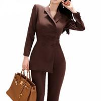 ingrosso tuta irregolare-Tuta donna irregolare giacca blazer doppiopetto e pantalone slim matita 2 pezzi set donna indossare tuta da ufficio business