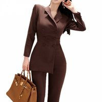 Wholesale irregular jumpsuit resale online - Women Irregular jumpsuit Double breasted Blazer Jacket and Slim Pencil Pant Pieces Set Female Wear to office Business jumpsuit