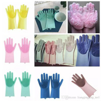 Wholesale latex bedding for sale - Group buy Magic Silicone Dish Cleaning Gloves Eco Friendly Scrubber Washing Multipurpose Glove Kitchen Bed Bathroom Tool Pet Care Grooming LJJ_A1161