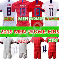 camisas de futebol de qualidade eua venda por atacado-Qualidade tailandesa 19 20 homens crianças kit EUA PULÍSIS Jersey de Futebol 2019 DEMPSEY BRADLEY ALTIDORE MADEIRA América camisa de Futebol dos Estados Unidos camisa