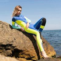 neopren-badeanzug ein stück großhandel-Frau aus einem Stück High Elastic 3mm Neoprenanzug Surfen Tauchanzug Helle Farbe, die klassischen langärmeligen Badeanzug verbindet