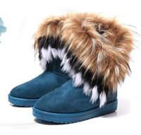 botas planas de piel de invierno al por mayor-Envío de DORP Botas para mujer Botas para la nieve de otoño e invierno Plumas piel de zorro zapatos cortos de algodón acolchados de fondo plano botas de invierno GIF de NAVIDAD