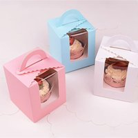 Wholesale dhl cupcakes for sale - Group buy Single cupcake boxes with window with handle macaron box mousse cake box Birthday Party Supplies DHL WX9