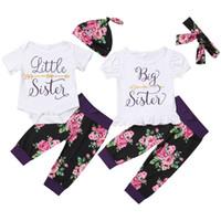 büyük bebek pantolon toptan satış-2019 Bebek bebek giysileri setleri bebek kız büyük kardeş baskı romper + çiçek uzun pantolon + şapka üç parçalı setleri 0901991