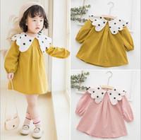 prenses tarzı yaka elbise toptan satış-Kız Çocuklar giysi tasarımcısı Elbise Lolita tarzı Uzun Kollu Polka Dots Ayçiçeği Yaka Katı Renk Elbise Bahar Güz Prenses Giyim Elbise