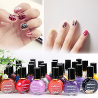 Wholesale black white oil art resale online - High quality ml Colored Printing Nail Polish Oil Stamping Polish Sticker Nail Art Beauty