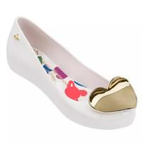 сандалии с сердечком оптовых-Melissa 2019 Women Heart Flat Sandals  Melissa Shoes For Women Jelly Sandals Female Jelly Shoes