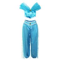 ropa de hadas para niñas al por mayor-Ropa de diseñador para niños Aladdin Lámpara Jasmine Princess trajes niños Cosplay de dibujos animados Niños maquillaje fiesta ropa C6828
