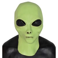 Wholesale rubber halloween mask white resale online - Realistic UFO Head Rubber Mask Cosplay Party Funny Costume Halloween Fashion Dress Toys