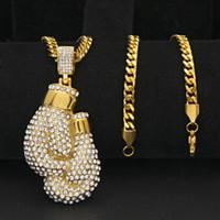 cadena de mano de diamantes de imitación al por mayor-Colgante de manos de acero inoxidable para hombre Joyas de hip hop Bling Rhinestone Crystal Golden Pendant Necklace Cuban Chain