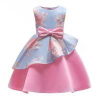 vestidos de roupas para adolescentes venda por atacado-2019 Crianças vestido de Baile Vestidos Criança Meninas Adolescentes Roupas Irregularidade Impressão de Flores Ruffled Festa de Casamento Vestido de Princesa 3-8 Anos