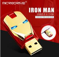 demir adam usb flash sürücü 64gb toptan satış-Metal Avengers Demir adam led kalem sürücü usb flash sürücü 64 gb 16 gb 32 gb 8 gb Kafa kalem sürücü hafıza kartı pendrives Gümüş altın renkler
