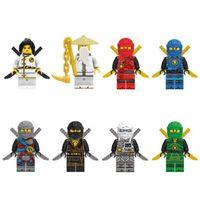 jay spielzeug großhandel-Neue Ankunft 8 stücke Ninja Spinjitzu Sensei Wu Jay Kai Nya Lloyd Cole Ninja Figur Mit Schwertern Baustein Spielzeug